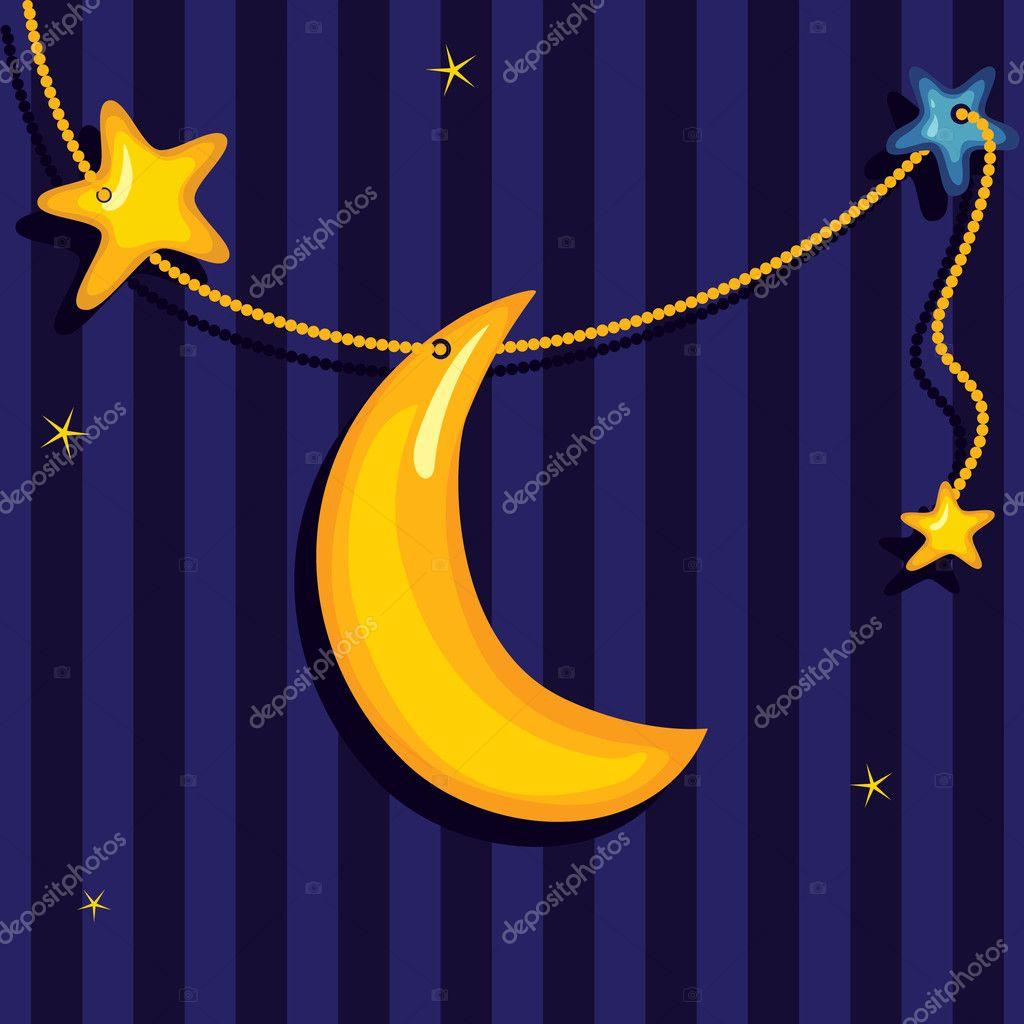 甜蜜的梦.矢量背景可爱月亮和星星— 矢量图片作者 marifa
