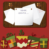Fond de noël avec des boîtes-cadeaux et de la lettre pour le père noël — Vecteur