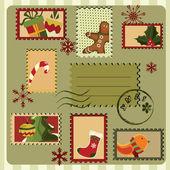 Christmas card. Retro style — Stock Vector