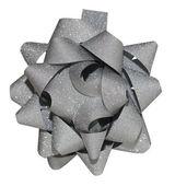 Grey shiny gift bow — Stock Photo