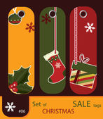 Set of retro sale xmas tags — Stock Vector