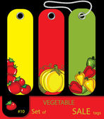 Set of sale vegetables autumn tags — Stock Vector
