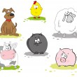 Set of domestic animal — Stock Vector
