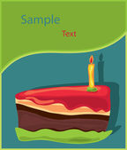 Piece of birthday Cake with candle — Vector de stock