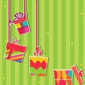 Illustration of gift bosex. Greeting card — Stock Vector