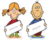 Funny cartoon kids with empty blank — Stock Vector