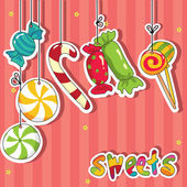 Sweets on strings — Vector de stock