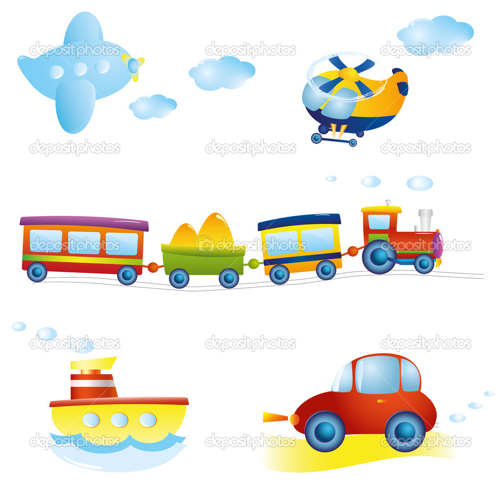 Set of types of transportat. Vector illustration.  — Stock Vector #6652931