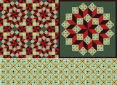 Due motivi geometrici e un ornamento geometrico — Vettoriale Stock
