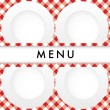 Stock Vector: Red Gingham Menu Card Cover