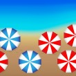 Vettoriale Stock : Oceand Beach Umbrellas