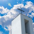 Cross on Christian Church Under Blue Sky — Stock Photo