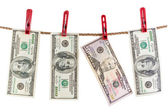 One hundred and fifty dollars dry on the rope. — Stock Photo
