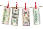Dollars is dry on the rope. — Stock Photo