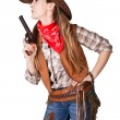 An isolated photo of a cowgirl with a gun — Stock Photo