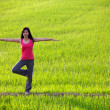 Girl practicing yoga,standing in paddy field — Stockfoto #5714583