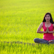 Girl practicing yoga,sitting in paddy field — ストック写真