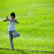 Girl practicing yoga,standing in paddy field — ストック写真