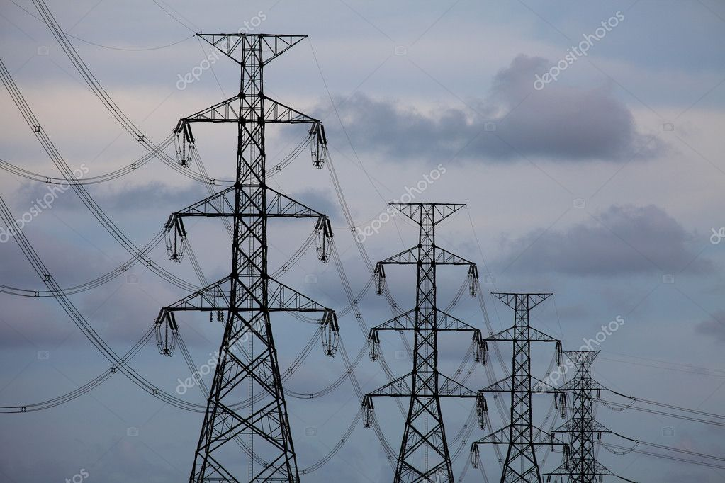 Electrical towers on blue sky background  Stock Photo #5956042