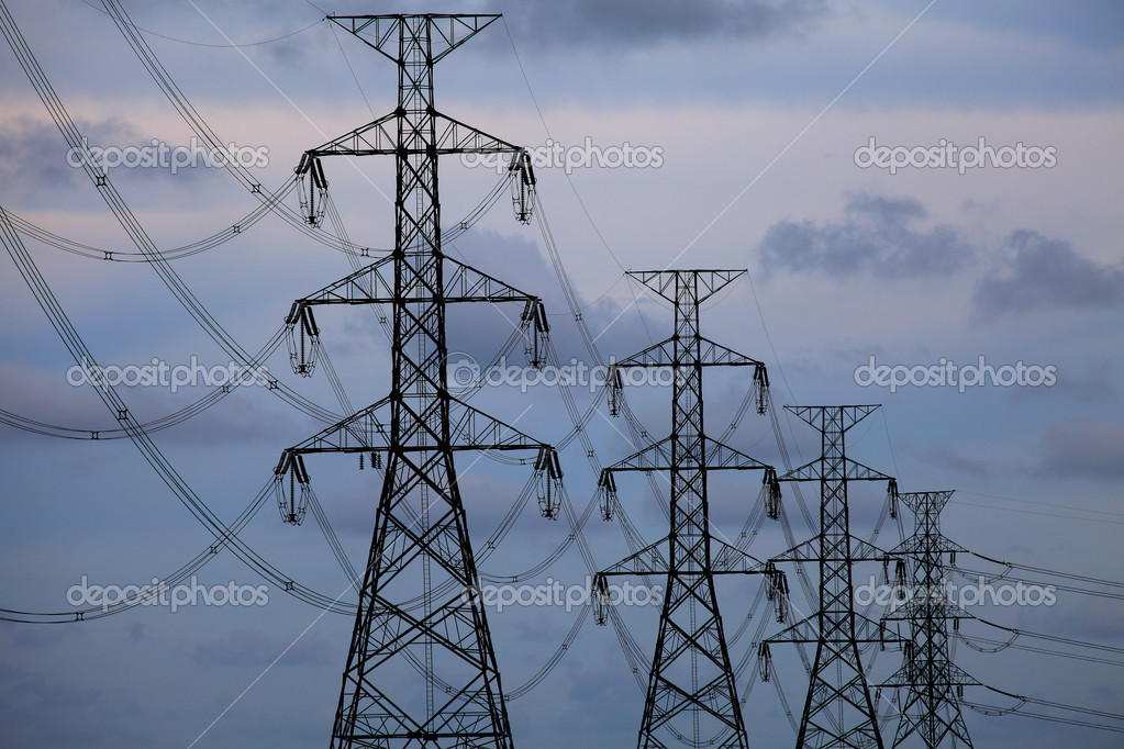 Electrical towers on blue sky background — Stock Photo #5956070