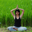 Girl practicing yoga in paddy field — Stok fotoğraf #6381704