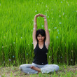 Girl practicing yoga in paddy field — Stok fotoğraf #6381719