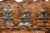 Ruin of Buddha statues in Ayutthaya historical park, Thailand — Stock Photo