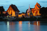 Twilight view of Thai Temple during sunset in Ayutthaya — Stock Photo