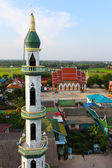 Aerial view of mosque among residential area in Thailand — Stock Photo