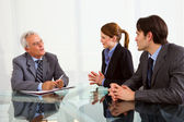 Two men and one woman during a job interview — Stock Photo