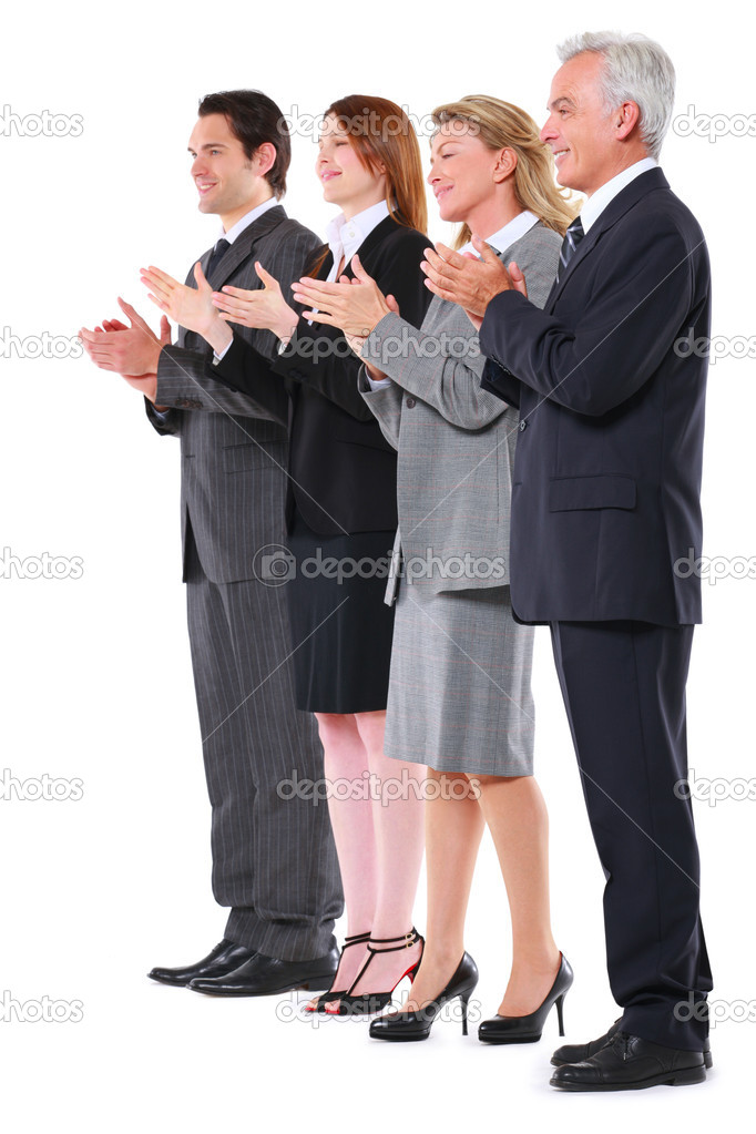 Businessman and businesswoman applauding — Stock Photo #6032944