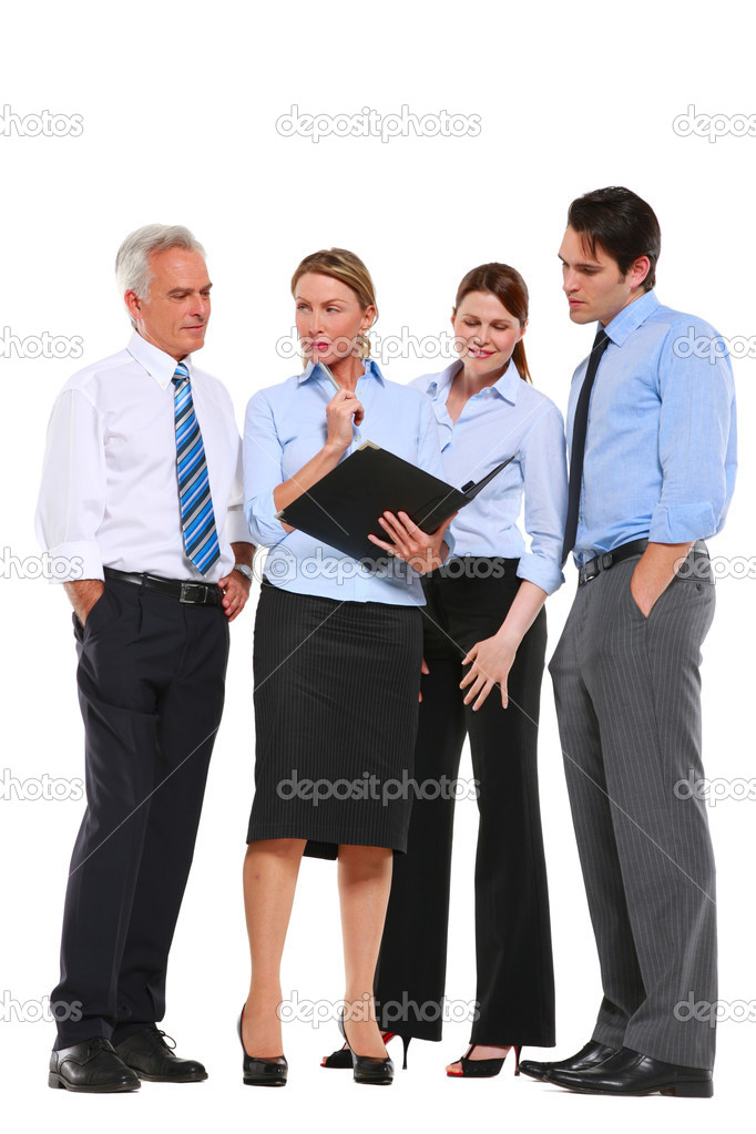 Businessman and businesswoman with a work plan  Stock Photo #6034162
