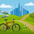 Summer landscape with bike — Stock Vector #5453336
