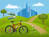 Paisaje de verano con una bicicleta — Vector de stock