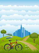 Summer landscape with a bike — Vector de stock