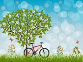 Yaz yatay, bisiklet — Stok Vektör