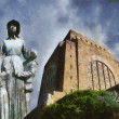 Voortrekker Monument and Statue of Mother Oil Painting — Stock Photo