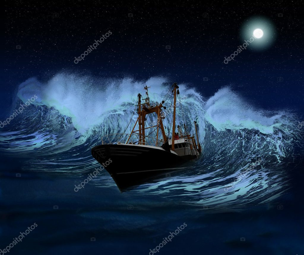 Sinking ship being hit by massive wave at night  — Stock Photo #6206985