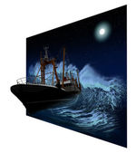 Sinking Ship at night in 3D — Stock Photo