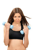 Fitness woman work out with blue dumbbells weights — Stock Photo