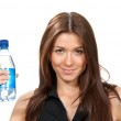Woman offer and give bottle of pure still drinking water for die — Stock Photo