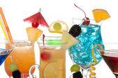 Cocktails Martini Tequila sunrise, vodka, blue hawaiian — Stock Photo