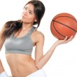 Basketball fitness brunette sexy young woman player — Stock Photo