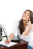 Mujer de negocios de la escritura con lápiz en la mano cuaderno organizador p — Foto de Stock