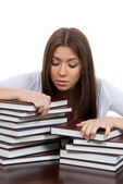 Bored High school or college girl reading student book — Stock Photo