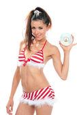 Slim body brunette sexy woman in christmas new year bikin — Foto Stock