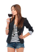Woman Tasting sampling red wine isolated on a white background — Stock Photo