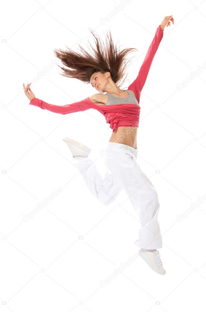 New modern slim hip-hop style woman dancer jumping isolated on a white studio background  — Stock Photo #5817742