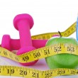 Diet diabetes concept with tape measure organic green apple — Stock Photo #5960826