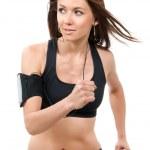 Fitness beautiful slim brunette sport woman jogging and running — Stock Photo